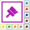 Paint brush flat framed icons - Paint brush flat color icons in square frames on white background