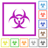 Biohazard sign flat framed icons - Biohazard sign flat color icons in square frames on white background
