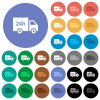 24 hour delivery truck multi colored flat icons on round backgrounds. Included white, light and dark icon variations for hover and active status effects, and bonus shades.