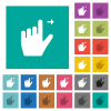 Left handed move right gesture multi colored flat icons on plain square backgrounds. Included white and darker icon variations for hover or active effects.
