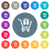 Gift shopping flat white icons on round color backgrounds. 17 background color variations are included.