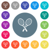 Two tennis rackets flat white icons on round color backgrounds. 17 background color variations are included.