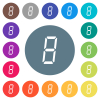 digital number eight of seven segment type flat white icons on round color backgrounds. 17 background color variations are included.