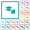 Graduation cap with book flat color icons with quadrant frames on white background