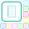 Notepad vivid colored flat icons in curved borders on white background