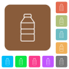Water bottle flat icons on rounded square vivid color backgrounds.