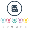Expand database flat color icons in round outlines. 6 bonus icons included.
