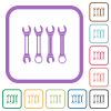 Set of wrenches simple icons - Set of wrenches simple icons in color rounded square frames on white background