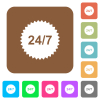 24 hours seven sticker flat icons on rounded square vivid color backgrounds.