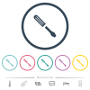 Single screwdriver flat color icons in round outlines. 6 bonus icons included. - Single screwdriver flat color icons in round outlines