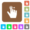 Left handed slide right gesture rounded square flat icons - Left handed slide right gesture flat icons on rounded square vivid color backgrounds.