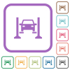 Car service simple icons in color rounded square frames on white background