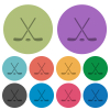 Hockey sticks with puck darker flat icons on color round background