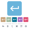 Keyboard return flat icons on color rounded square backgrounds - Keyboard return white flat icons on color rounded square backgrounds. 6 bonus icons included