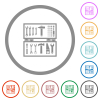 Open toolbox flat icons with outlines - Open toolbox flat color icons in round outlines on white background