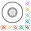 Car wheel flat color icons in round outlines on white background