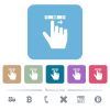 right handed scroll right gesture white flat icons on color rounded square backgrounds. 6 bonus icons included