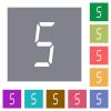 digital number five of seven segment type square flat icons - digital number five of seven segment type flat icons on simple color square backgrounds