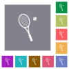 Tennis racket with ball flat icons on simple color square backgrounds - Tennis racket with ball square flat icons