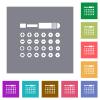 Set of screwdriver bits square flat icons - Set of screwdriver bits flat icons on simple color square backgrounds