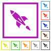 Rocket flat framed icons - Rocket flat color icons in square frames on white background