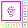 Grapes flat framed icons - Grapes flat color icons in square frames on white background