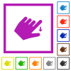 Left handed move down gesture flat color icons in square frames on white background - Left handed move down gesture flat framed icons