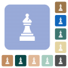 Black chess bishop rounded square flat icons - Black chess bishop white flat icons on color rounded square backgrounds