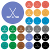 Hockey sticks with puck round flat multi colored icons - Hockey sticks with puck multi colored flat icons on round backgrounds. Included white, light and dark icon variations for hover and active status effects, and bonus shades.