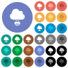 Cloud printing round flat multi colored icons - Cloud printing multi colored flat icons on round backgrounds. Included white, light and dark icon variations for hover and active status effects, and bonus shades.