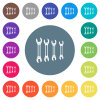 Set of wrenches flat white icons on round color backgrounds - Set of wrenches flat white icons on round color backgrounds. 17 background color variations are included.