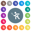Tennis player flat white icons on round color backgrounds. 17 background color variations are included. - Tennis player flat white icons on round color backgrounds