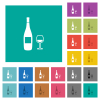 Wine bottle and glass square flat multi colored icons - Wine bottle and glass multi colored flat icons on plain square backgrounds. Included white and darker icon variations for hover or active effects.