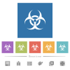 Biohazard sign flat white icons in square backgrounds - Biohazard sign flat white icons in square backgrounds. 6 bonus icons included.