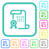 Digital certificate vivid colored flat icons - Digital certificate vivid colored flat icons in curved borders on white background