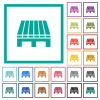 Single pallet flat color icons with quadrant frames - Single pallet flat color icons with quadrant frames on white background