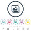 Pictures flat color icons in round outlines. 6 bonus icons included. - Pictures flat color icons in round outlines