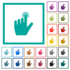 left handed clicking gesture flat color icons with quadrant frames on white background - left handed clicking gesture flat color icons with quadrant frames