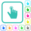 right handed clicking gesture vivid colored flat icons in curved borders on white background - right handed clicking gesture vivid colored flat icons