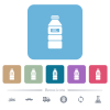 Water bottle with label flat icons on color rounded square backgrounds - Water bottle with label white flat icons on color rounded square backgrounds. 6 bonus icons included