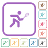 Tennis player simple icons - Tennis player simple icons in color rounded square frames on white background