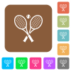 Tennis rackets with ball rounded square flat icons - Tennis rackets with ball flat icons on rounded square vivid color backgrounds.