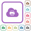 Cloud printing simple icons - Cloud printing simple icons in color rounded square frames on white background