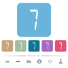 digital number seven of seven segment type flat icons on color rounded square backgrounds - digital number seven of seven segment type white flat icons on color rounded square backgrounds. 6 bonus icons included