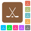 Hockey sticks with puck rounded square flat icons - Hockey sticks with puck flat icons on rounded square vivid color backgrounds.