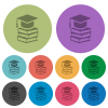 Graduation cap with books color darker flat icons - Graduation cap with books darker flat icons on color round background