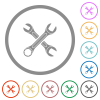 Two wrenches flat icons with outlines - Two wrenches flat color icons in round outlines on white background