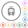 Tram flat icons with outlines - Tram flat color icons in round outlines on white background