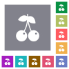 Pair of cherry square flat icons - Pair of cherry flat icons on simple color square backgrounds