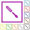 Single screwdriver flat framed icons - Single screwdriver flat color icons in square frames on white background